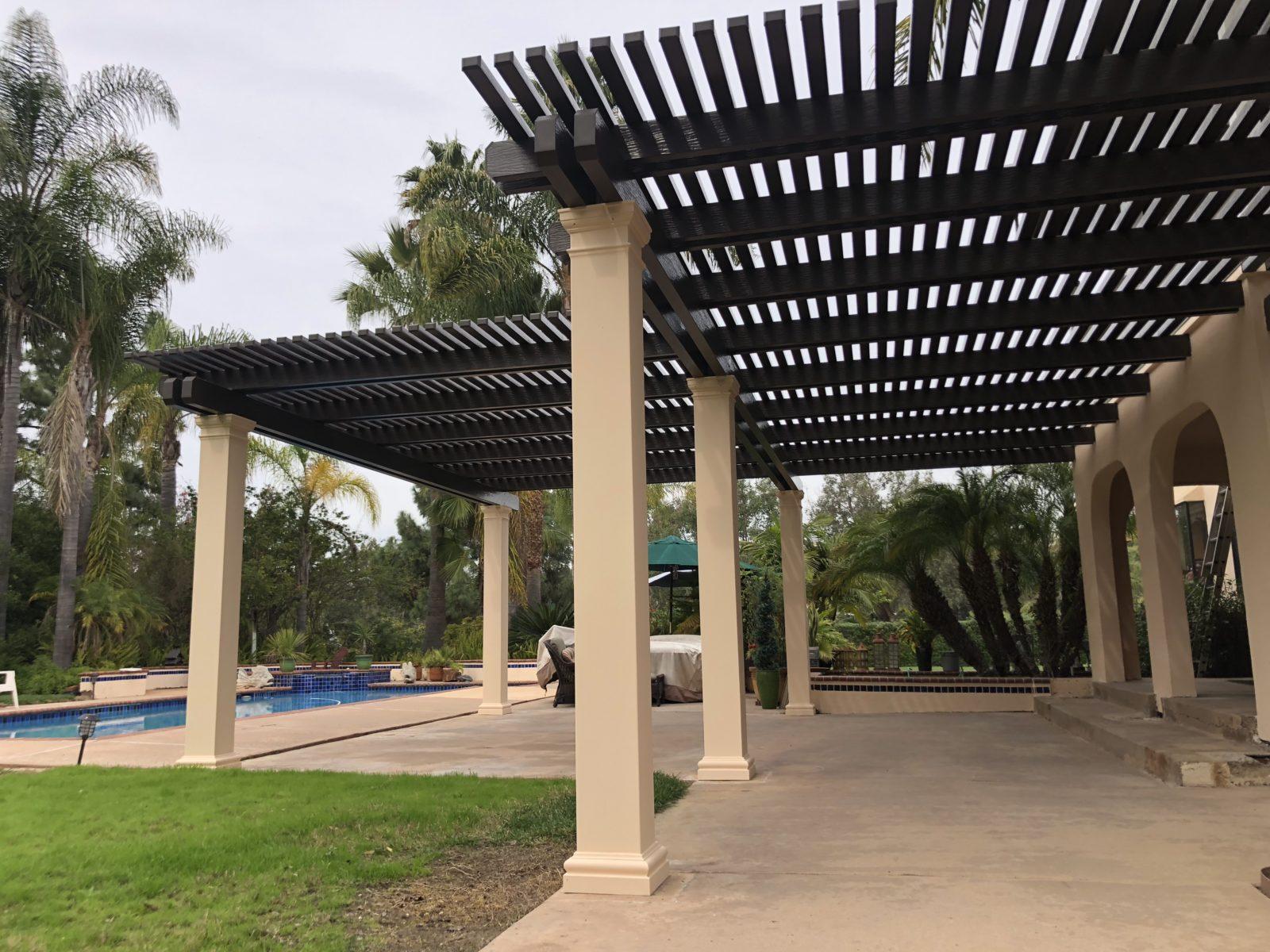 Large lattice aluminum patio cover in San Diego